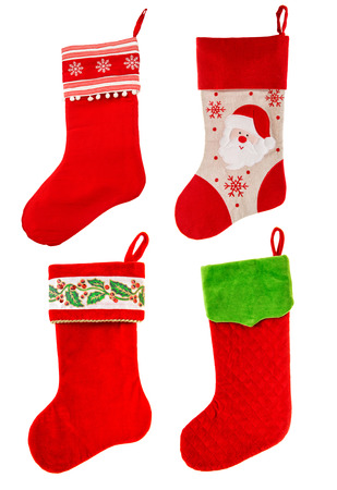 stockings: christmas stocking. red sock with Santa Claus and snowflakes on white background. winter holidays symbol