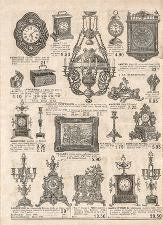 collectibles: antique victorian objects and collectibles. old newspaper. retro shop advertising, page of very popular shopping catalog Samaritaine, Paris, France, circa 1897