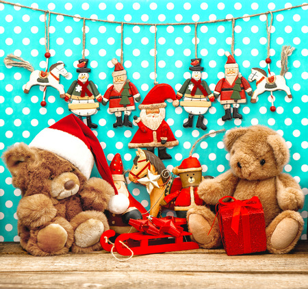 christmas decorations with vintage toys and teddy bear nostalgic holidays background stock photo 34067555