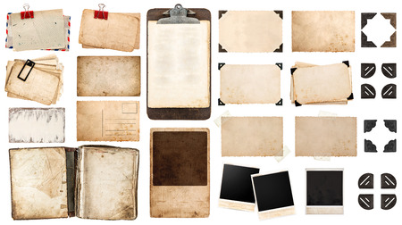 vintage paper sheets, book, old photo frames and corners, antique clipboard isolated on white background. Foto de archivo