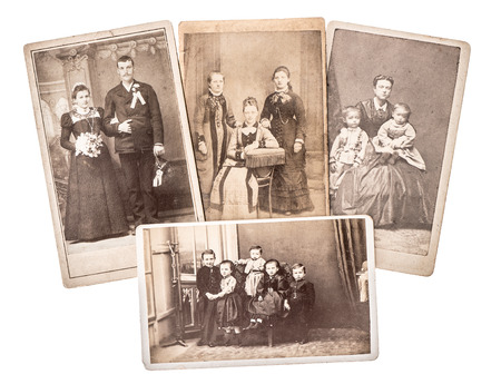 group of vintage family and wedding photos circa 1880-1900. nostalgic sentimental pictures on white background