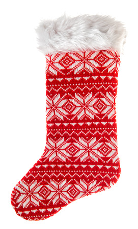nikolaus: christmas stocking. knitted sock for gifts isolated on white background. winter holidays symbol Stock Photo