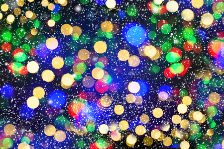 defocused lights with snowfall effect photo - Snowfall Christmas Lights