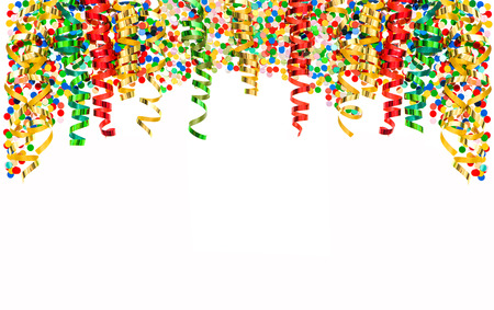 colorful shiny streamers and confetti isolated on white background. banner with carnival party serpentine decoration