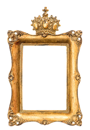 baroque picture frame: golden baroque picture frame isolated on white background. vintage style object with crown for king or queen
