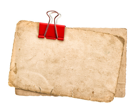 ephemera: old paper sheets with clip isolated on white background. grunge cardboard texture