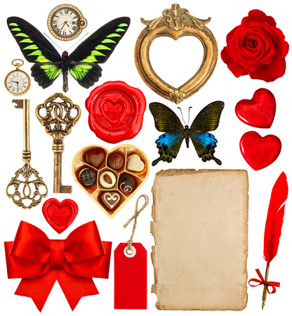 Collection of various objects for Valentines Day scrapbook. Paper page, red hearts, photo frame, antique clock, key, feather pen, flower, butterfly, red ribbon bow photo