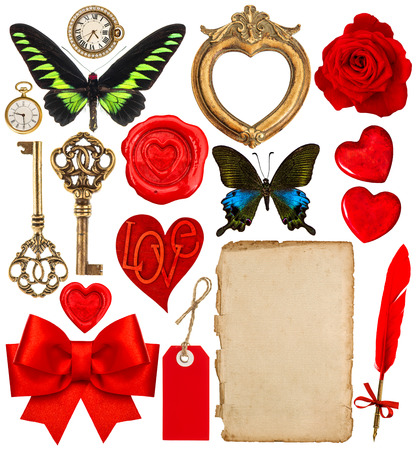 butterfly bow: Objects for Valentines Day scrapbooking. Red hearts, photo frame, paper page, antique clock, key, ink pen, flower, butterfly, red ribbon bow