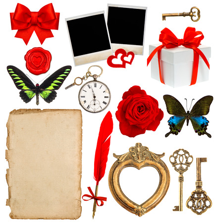 objects for scrapbooking. letter paper, antique clock, key, photo and picture frame, feather pen, red rose flower, butterfly, ribbon bow, gift box photo
