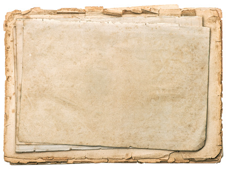Aged papers with edges isolated on white background. Vintage book pages photo