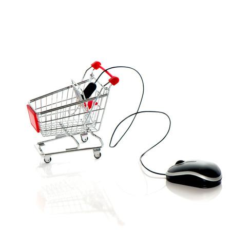 log basket: Computer mouse and shopping cart. Online market concept