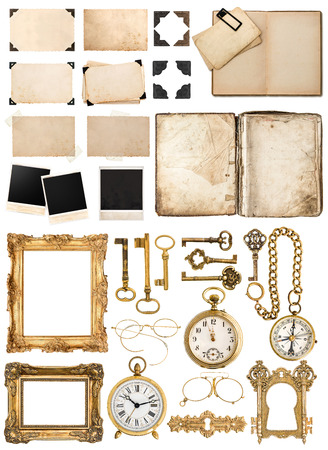 Antique book, aged paper card with corners, tapes and frames, photo cardboard, golden keys isolated on white background. Big collection of vintage objects Stockfoto