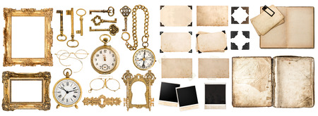 photo of accessories: Big collection of vintage objects. Old book, photo frames with corner, golden accessories isolated on white background.