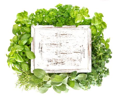 perejil: Hierbas frescas con tabla de madera para su texto. Mejorana, perejil, albahaca, romero, tomillo