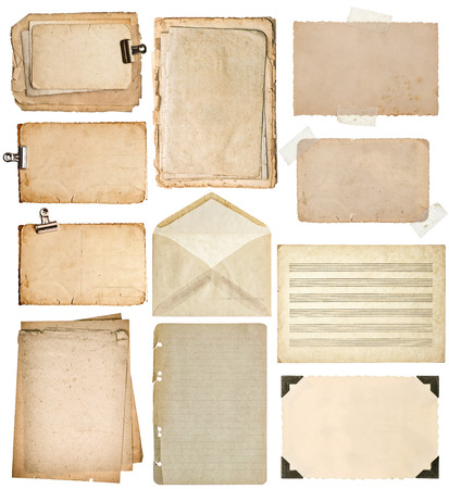 old page: used paper sheets. vintage book pages, cardboards, music notes, photo frame with corner, envelope isolated on white background