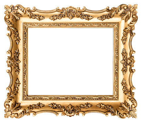 Vintage golden picture frame isolated on white background. Antique style object Stockfoto