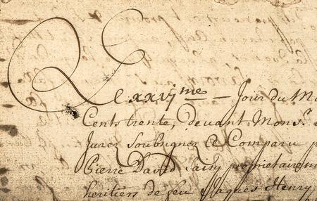 Escritura a mano de la vendimia con el texto latino. Manuscrito. Pergamino. Grunge fondo de papel