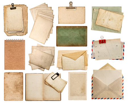 old envelope: Used paper sheets. Vintage photo album and book pages, cards, paperboard, pieces, envelope isolated on white background