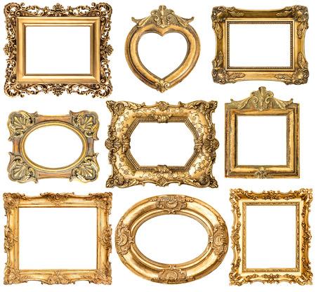 Set mit goldenen Rahmen ohne Schatten isoliert auf weißem Hintergrund Standard-Bild - 43012261