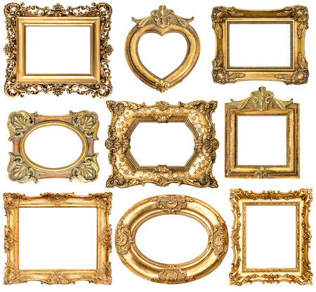 old frame: Set of golden frames without shadows isolated on white background Stock Photo
