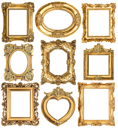 antique gold picture frames: Golden frames isolated on white background