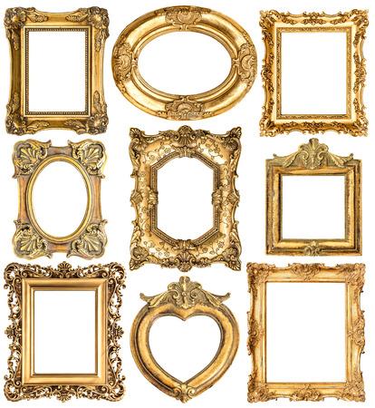 Golden frames isolated on white background