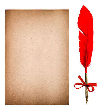 ephemera: Old paper sheet with feather ink pen. Grungy texture isolated on white background