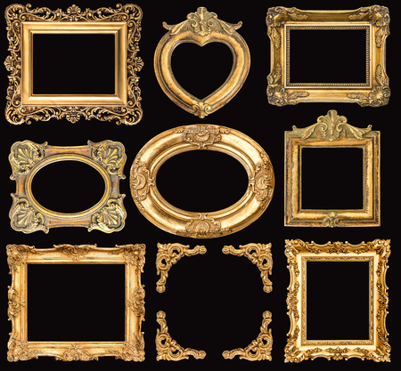 Set of golden frames on black background. Baroque style antique objects. Vintage background