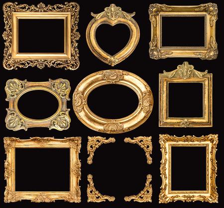 Set of golden frames on black background. Baroque style antique objects. Vintage background