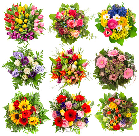 floral objects: Nine colorful flowers bouquet for Easter Holidays. Floral objects isolated on white background