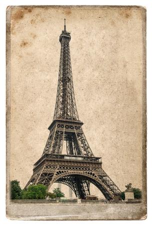 la tour eiffel: Vintage style postcard concept with Eiffel Tower La Tour Eiffel. Champ de Mars, Paris, Europe