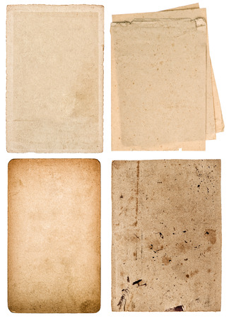 white textured paper: Used textured paper cardboard isolated on white background. Scrapbook objects