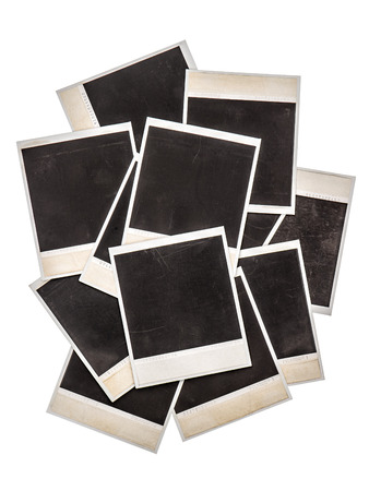 Old instant photo frames isolated on background. Vintage objects Archivio Fotografico