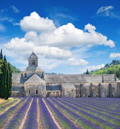 paisaje mediterraneo: Hermoso paisaje con el castillo medieval y el azul cielo nublado. Campo de lavanda, punto de referencia de la Provenza, Vaucluse, Francia Editorial