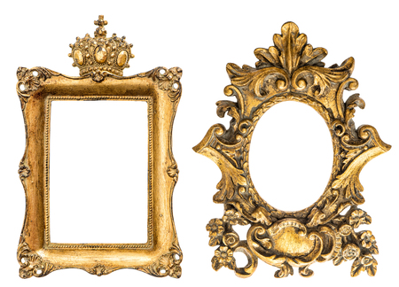 picture: Baroque style golden picture frame isolated on white background. Vintage object
