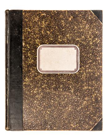 grabado antiguo: Vintage cubierta de libro de cuero con etiqueta de papel aislado en el fondo blanco. Objeto antiguo