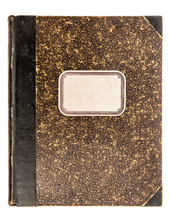 antique: Vintage leather book cover with paper tag isolated on white background. Antique object