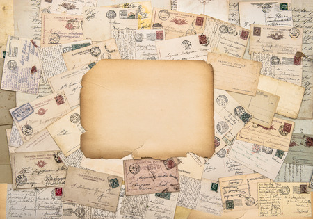 old letters: Old letters and postcards. Antique postage. Vintage style paper background