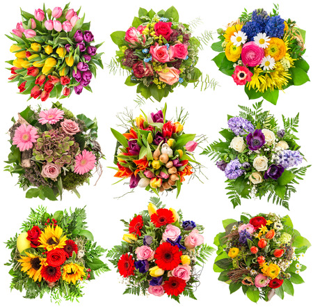 Flowers bouquet for spring and summer holidays. Floral objects isolated on white background