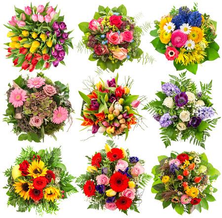 ramo de flores: Ramo de flores para las vacaciones de primavera y verano. objetos florales aislados en fondo blanco Foto de archivo