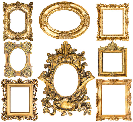 baroque picture frame: Golden frames isolated on white background. Stock Photo