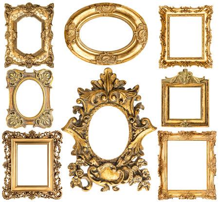 grabado antiguo: Marcos de oro aisladas sobre fondo blanco. Foto de archivo