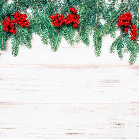 hollyberry: Christmas tree branch with red berries on wooden background. Winter holidays decoration. Retro style toned picture