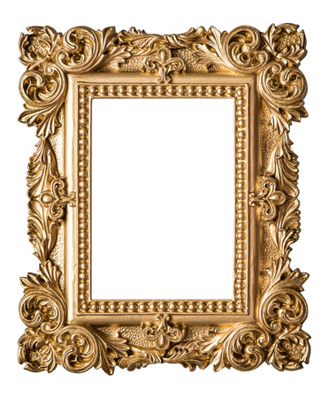 Picture frame baroque style. Vintage art gold object isolated on white background