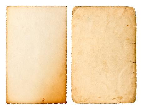 ephemera: Old paper sheet with edges isolated on white background. Stock Photo