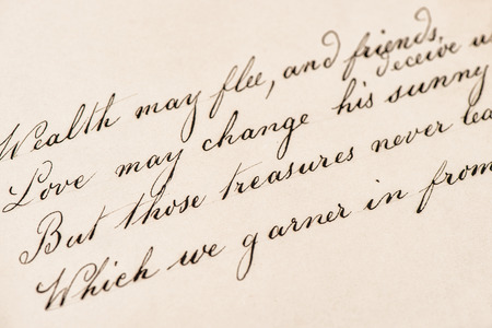 old letter: Old letter with handwritten text. Grunge vintage texture background Stock Photo