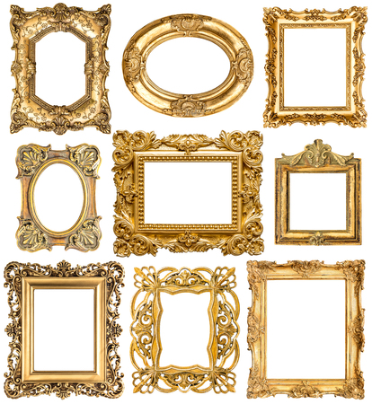 Golden frames isolated on white background. Baroque style vintage objects. Collection of antique picture frames Standard-Bild