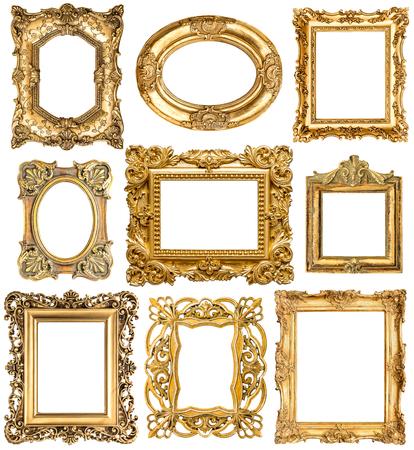 Marcos de oro aisladas sobre fondo blanco. objetos de estilo barroco de la vendimia. Colección de marcos de cuadros antiguos Foto de archivo - 48991904