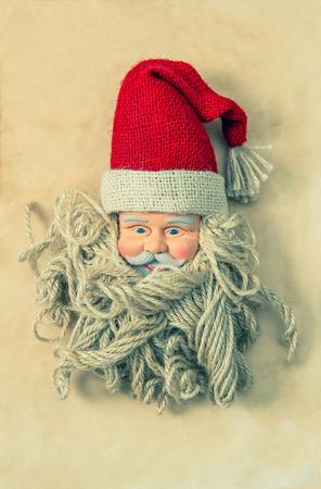 nostalgic christmas: Vintage Santa Claus. Nostalgic christmas decoration. Vintage style toned. No name toy Stock Photo