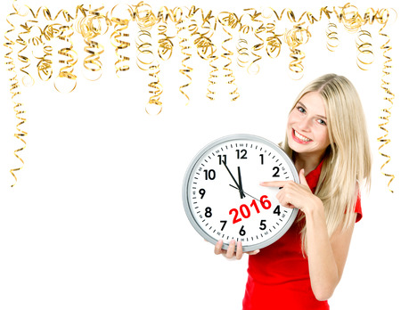 party time: Partytime. Save the date. Five to twelve. Young beautiful woman with big clock and golden streamer. Space for your text